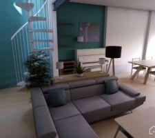 Quelques vues 3D pour se faire une idée de la pièce à vivre.
