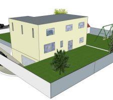 Première ébauche 3D (dessin perso) de la vue arrière de la maison.
