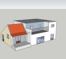 Idée initiale de mon projet avec conservation d'une partie de la maison actuelle (à gauche héhé) et ajout extension moderne. Cette idée a été démontée lors de mon premier RV (voir explications dans le récit)