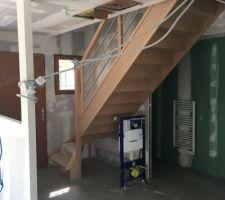 Escalier posé, avant placo