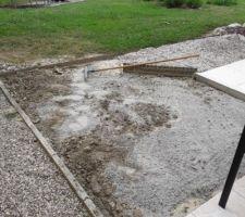 Avant travaux de rocaille, mélange de sable avec la terre