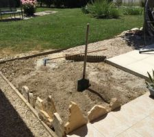 Début des travaux de la rocaille de cactus et plantes grasses