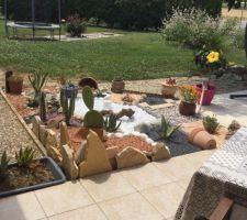 Travaux de la rocaille de cactus et plantes grasses terminés