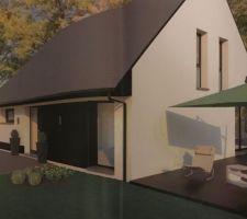 Maison toiture «fermette» vue de côté