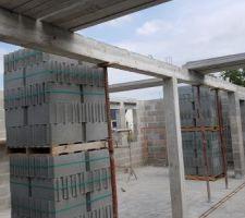 Elevation des murs du rdc dernier jour (décoffrage poutre et poteau)