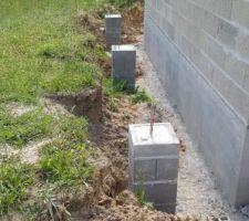 Elevation des murs du rdc dernier jour (plots pour les poteaux de la charetterie)