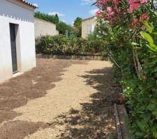 Terrassement terrain pour pelouse en plaques