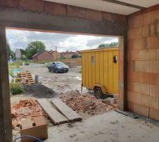 Prorotherm + briques Vandersanden moulées main Vue garage