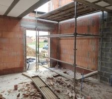 Prorotherm + briques Vandersanden moulées main Vue rez-de-chaussée entrée