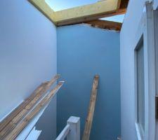 Dépose d?une partie de toiture existante, création d?un toit terrasse Création d?ouvertures pour rentrée de toit