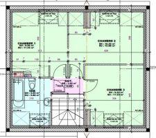 L'étage avec 3 chambres et 1 SDB
