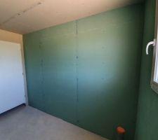Salle de bain (pas de placo hydrofuge au plafond et à la porte!)