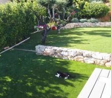Nous avons complété la pelouse synthétique au premier plan, le chat était content !!!!