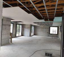 Début des faux plafonds