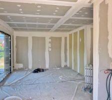 Faux-plafonds terminés, enduit en cours !