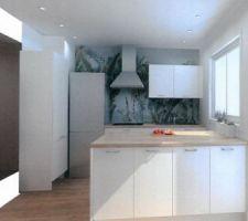 Cuisine - proposition d'implantation d'un cuisiniste avec changement de la fenêtre pour mettre une partie fixe sous les 2 vantaux et ouverture du mur après la chaudière (qui est dans l'armoire face à la fenêtre).  Pas convaincue par cette implantation...