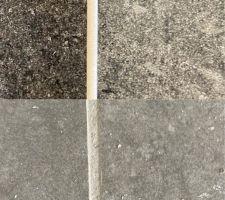 Montage entre joint gris (indiscutable) du carrelage de la cuisine en bas, et joint (???) des faïences de la salle de bain parentale en haut...