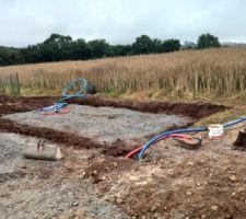 Fondation du poolhouse creusée à la minipelle