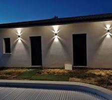Éclairage exterieur côté future terrasse piscine