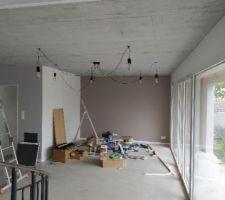 Vue du salon en cours de réalisation