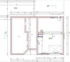 Sous-sol -> des cloisons seront ajoutées pour faire 1 cellier + 1 buanderie (accès jardin arrière par porte de service) et une cave fermée.