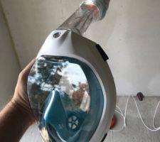 Astuce pour ne pas étouffer avec la poussière de laine de bois, un masque Décathlon avec un masque FFP2 comme filtre