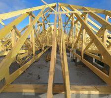 Montage et assemblage charpente industrielle pente 35° Comble non aménageable. espacement 60cm débord de toit 30cm.