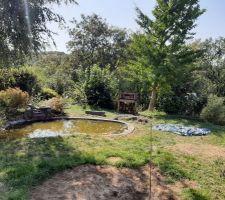 Vue du jardin supérieur - projet de terrasse au fond