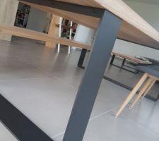 Table frêne Olivier 240*100, épaisseur 56cm - menuisier Jowood
