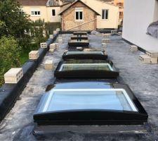 6 fenêtres toit terrasse VELUX (5 fixes et 1 motorisée)