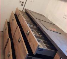 Tiroirs 120 sous plan de travail = range couvert N°2 et  2 casseroliers
