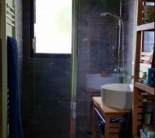 Coin douche, meubles BAMBOU. paroi de douche avec portillon