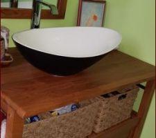 Meuble Teck SURABAYA , et vasque bi colore