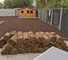 Terre retournée et terre végétale posée sur une partie du terrain livraison des rouleaux de gazon