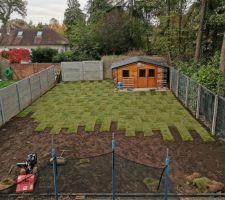 Terre végétale posée sur tout le terrain et pose des rouleaux de gazon, ca ressemble a un damier :)