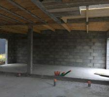 Préparation pour la couverture : garage voligé vu de l'intérieur