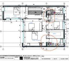 Plan architecte pour le R2 : pièces de nuit