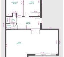 Plan du premier niveau de l'appartement (5° étage)