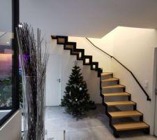 Escalier crémaillère acier et chêne