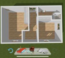 Plan du 2eme étage, 2 chambre + sdb