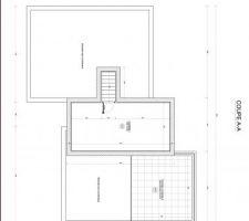 Plan du dernier demi niveau qui sera la suite parentale avec chambre dressing et salle de bain personnel ... et terrasse (en toit terrasse)