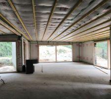 Isolation du plafond avec ouate pulsée