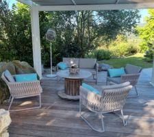 Salon de jardin complet (table home made)