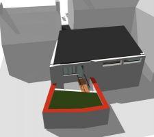 La terrasse surplombe la piscine, la passerelle est accessible depuis la cuisine et le salon est a droite mais la fenetre de droite n'existe plus