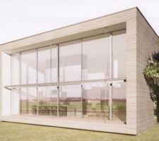 maison bois bbc cube bioclimatique avec toit plat