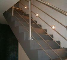 Escalier béton et rambarde alu