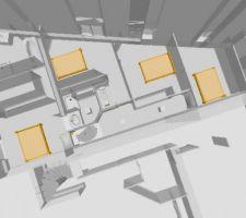 1er etage avec 3 chambres orientees nord 1 wc 1sdb 1 suite parentale avec chambre dressing sdb la suite est orientee au sud avec vue sur le terrain de 500m2 boise attention la partie nous appartenant n est que la partie amenagee qu on voit sur le plan en gris