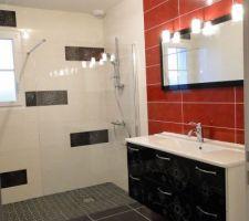Salle-de-bains : meuble, miroir et barre de douche installés