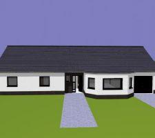 Perspective de la maison avant le permis de construire.  remarque les finitions au niveau de la toiture ne sont pas finies.