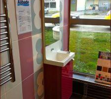 meuble miroir toilette visiteur mais en marron laque